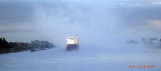 Ship in fog Kiel Canal